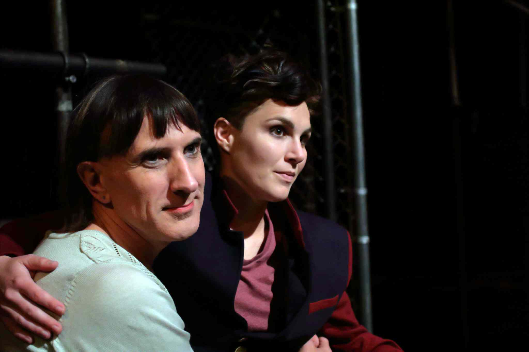 Assistant director Lara Rae (left) and artistic director Mel Marginet, who also plays the king's son, a boy transitioning to a woman.
