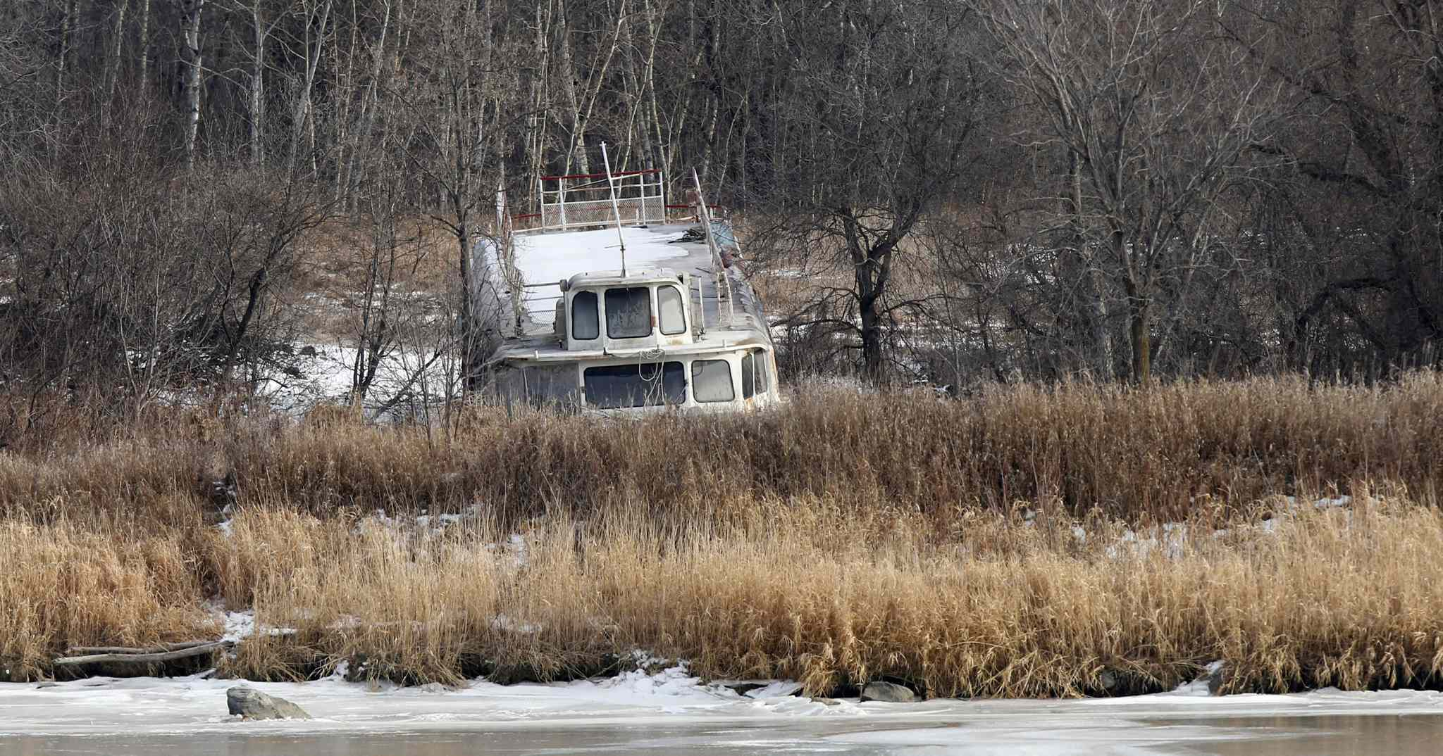 The MS Lady Winnipeg sits among the reeds near Selkirk, where it has been parked since 2002.