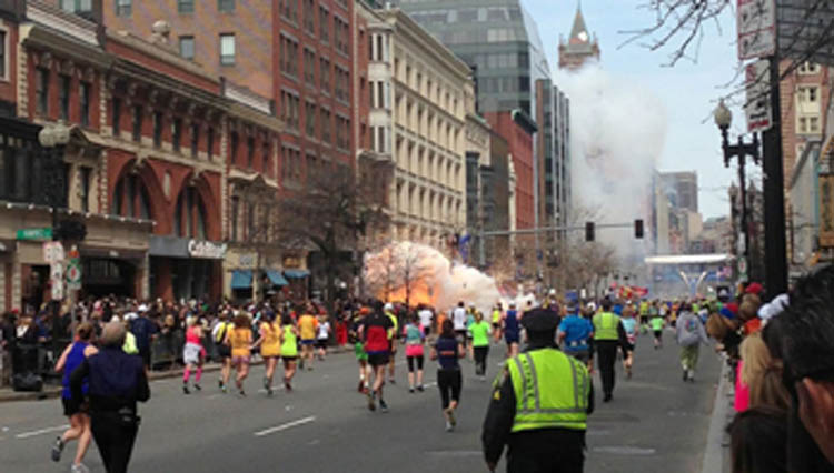 Explosion at the Boston Marathon   (Dan Lampariello / DobsonAgency / Rex Feature Ltd.)