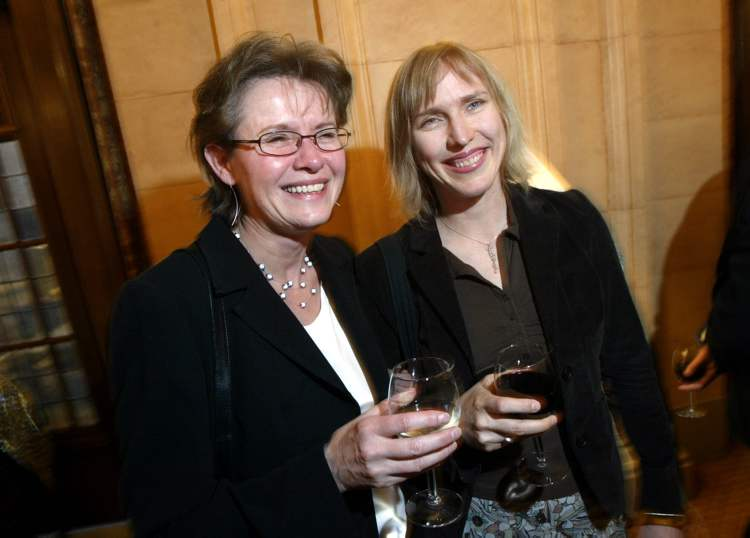 April 23, 2005: Miriam Toews (right) with Holly McNally during Brave New Words -- The Manitoba Writing and Publishing Awards at Hotel Fort Garry. Toews won the McNally Robinson Book of the Year Award for her book