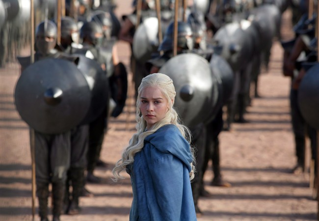 This file publicity image released by HBO shows Emilia Clarke as Daenerys Targaryen in a scene from