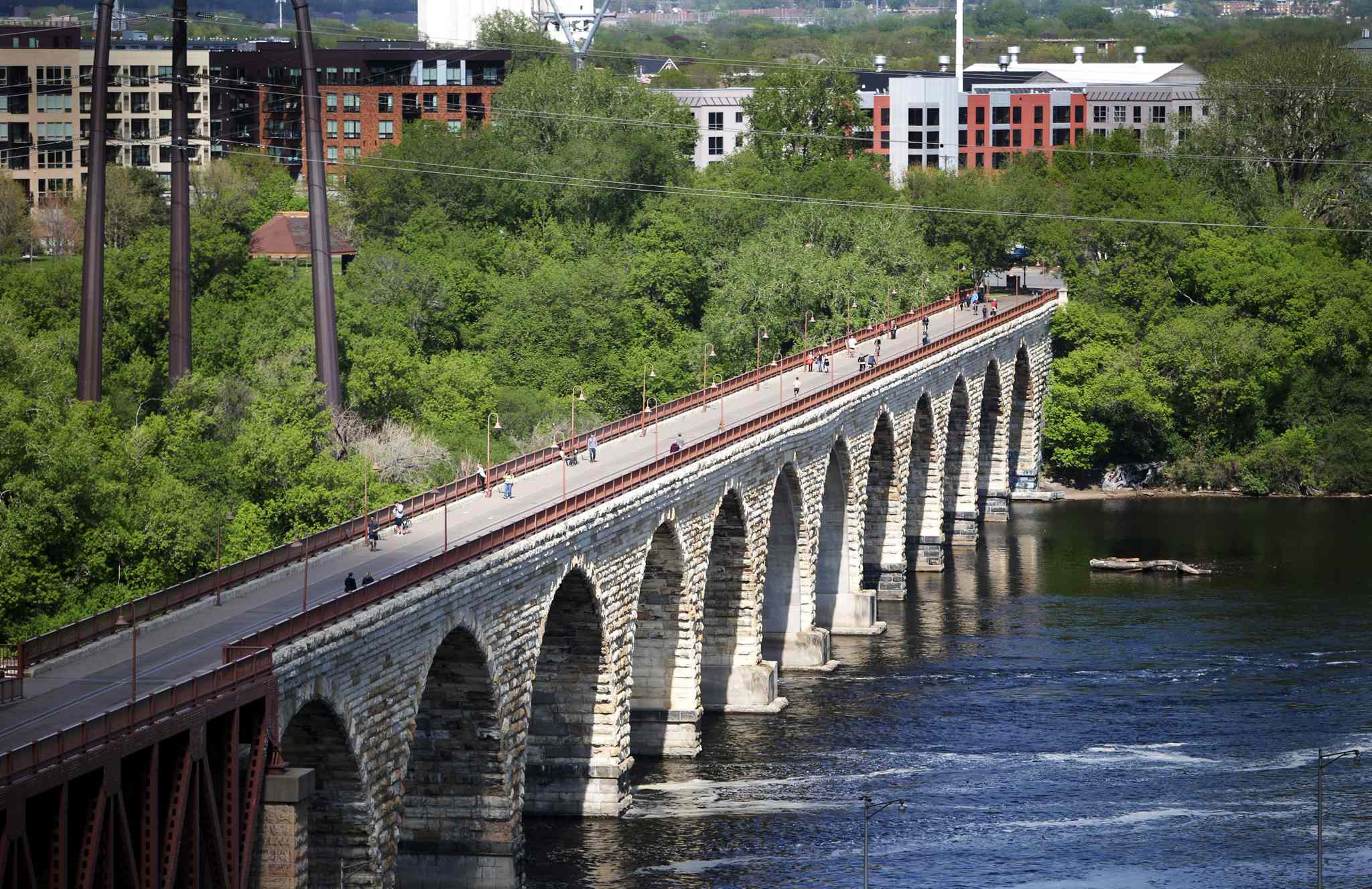 A view of the Stone Arch Bridge from atop the North Star Woolen Mill in Minneapolis.