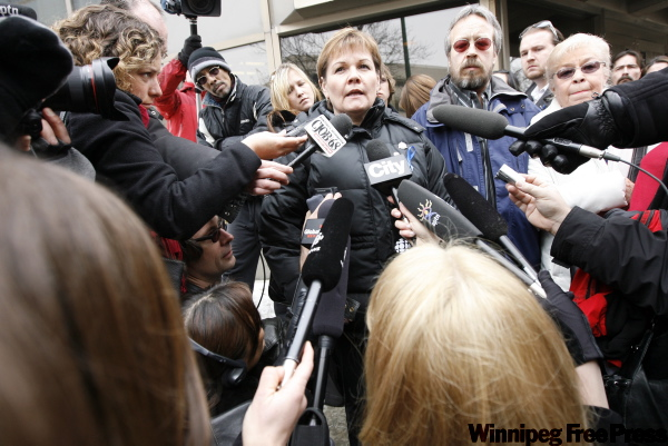 Carol deDelley and Tim Mclean Sr. speak to the media outside the Law Courts after the verdict was handed down.
