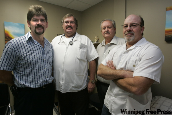 Pictured above, from left, Dr. Johan Jacobs, Dr. Dan Gerber, Dr. Wilhelm Grobler and Dr. Louis Van Rooyen aren't happy with the WRHA's decision not to prioritize doctors to get the H1N1 vaccine.