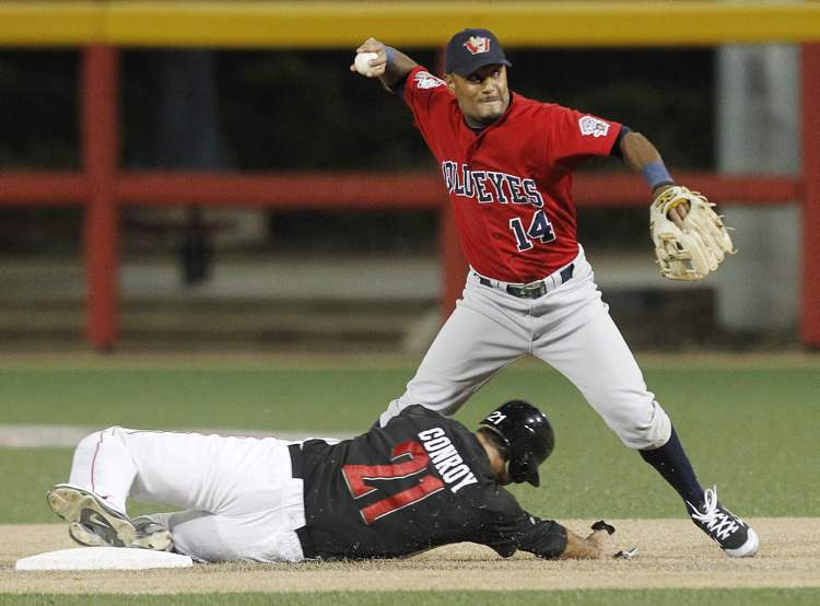 Winnipeg Goldeyes' Price Kendall (14) completes a double play against Wichita's Mike Conroy in the 5th inning in Wichita, Kansas Friday night.  (Fernando Salazar / Wichita Eagle)