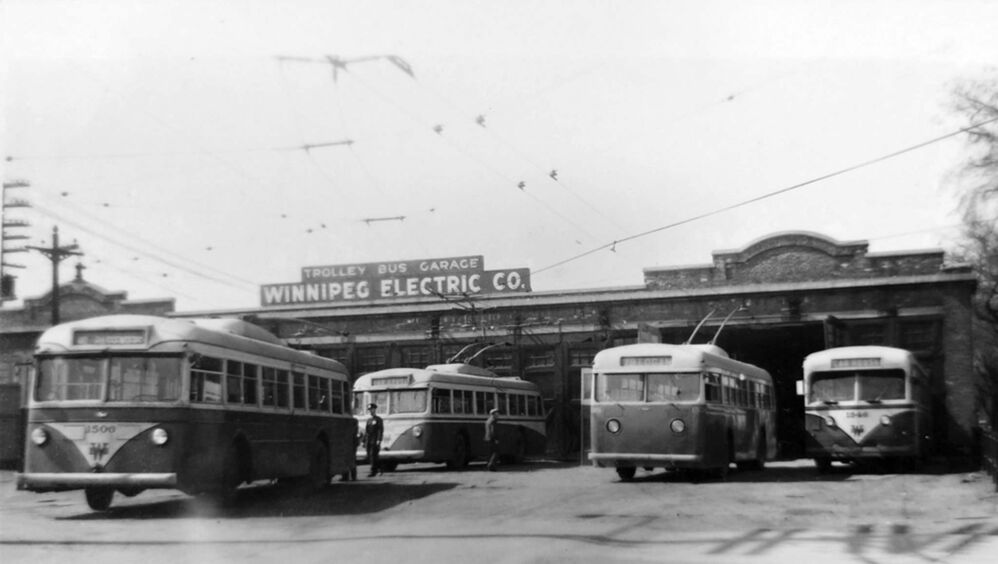 Located on Assiniboine Avenue where Bonnycastle Park now sits, the bus garage was home to the electric trolleys which replaced rail streetcars in the mid-1950s.<br> - Archives of Manitoba, George Harris fonds