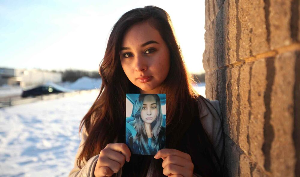College Jeanne Suave student Brianna Jonnie holds a photo of herself she sent to police chief Devon Clunis along with a letter about her fears of going missing like other aboriginal females. March 3 2016 -