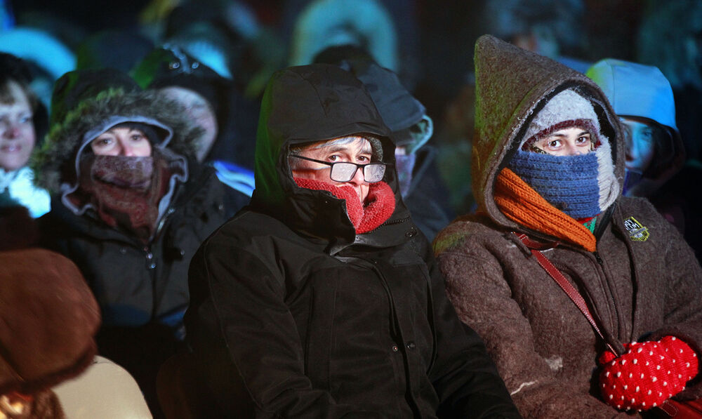 "Hardy New Music fans shrouded in the mist formed by their freezing breath take in the Winnipeg New Music Festival's ""Glacial Time""  concert. - PHIL HOSSACK / WINNIPEG FREE PRESS"