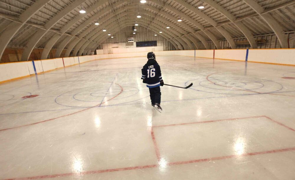 Inside the old Minto, Man. arena with young hockey player Ryan Sprott. Feb. 16, 2016. -