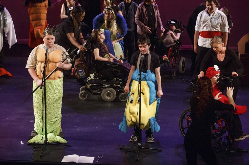 The cast on stage during The Little Mermaid musical at the Gas Station Theatre. (Mike Deal /  Winnipeg Free Press)