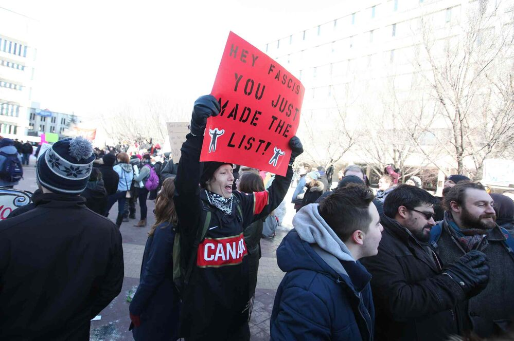 A sign at the rally in Winnipeg. - RUTH BONNEVILLE / WINNIPEG FREE PRESS