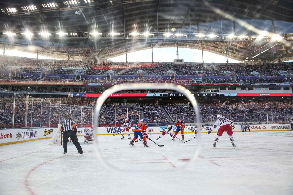The Winnipeg Jets play against the Edmonton Oilers at Investors Group Field.  - MIKE DEAL / WINNIPEG FREE PRESS