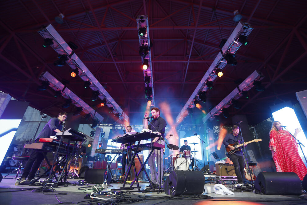 Local indie-rockers Royal Canoe perform during Manitoba night at the Canada Summer Games Festival at The Forks Monday.  - JOHN WOODS / WINNIPEG FREE PRESS