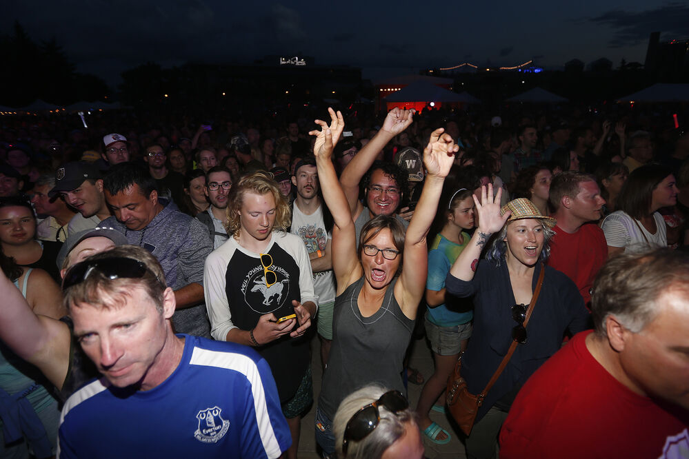 Fans welcome the Crash Test Dummies during Manitoba Night at the Canada Summer Games Festival Monday at The Forks.  - JOHN WOODS / WINNIPEG FREE PRESS