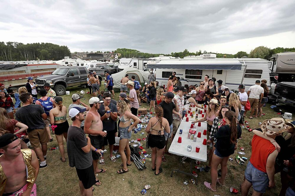 Festival-goers socialize in the campsite during Dauphin's Countryfest 2018 on Friday. (Tim Smith/The Brandon Sun)