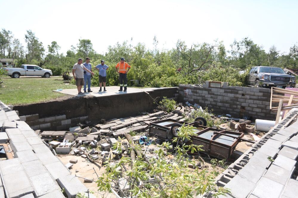 A cabin was reduced to piles of rubble after a tornado struck Margaret Bruce Beach near Alonsa on Friday. - Melissa Verge/The Brandon Sun