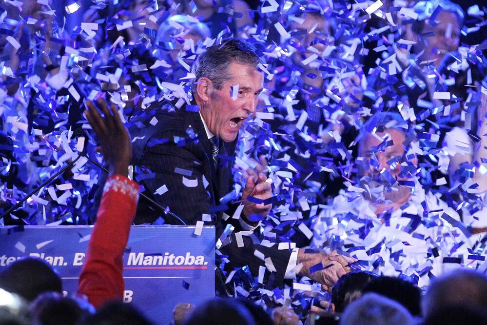 Premier elect Brian Pallister speaks to the PC Party faithful during his acceptance speech at Canad Inns Polo Park after his party won a majority of seats in the Manitoba Legislature. April 19, 2016