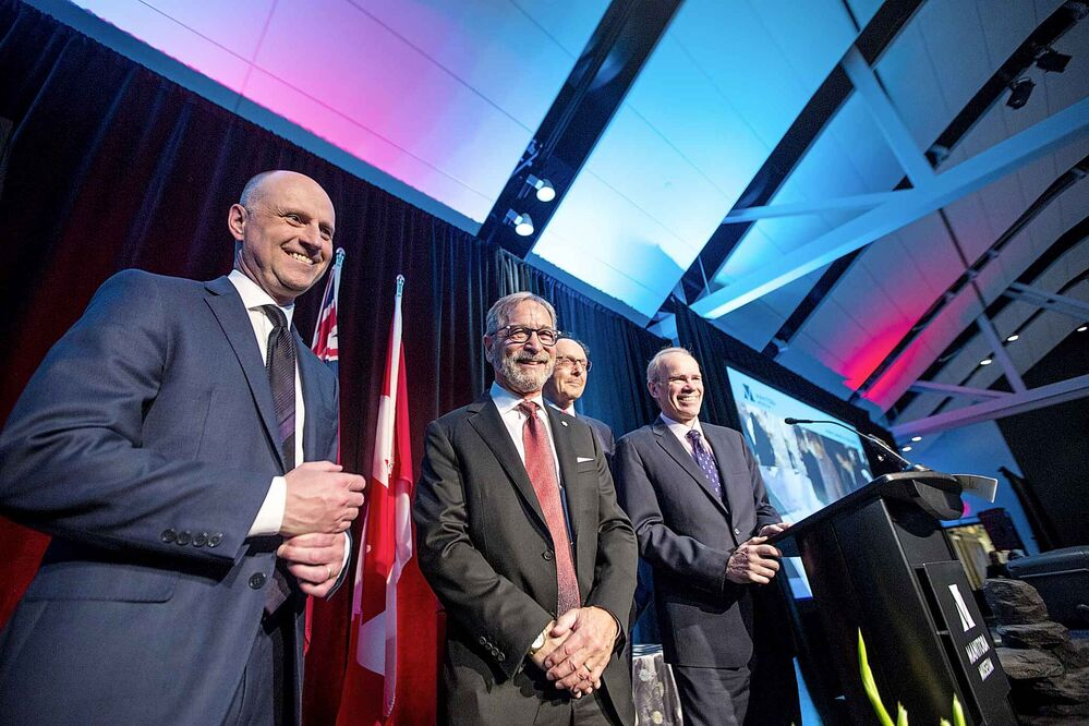 Editor Paul Samyn (left), co-owner Bob Silver, co-owner Ron Stern, and publisher Bob Cox at the Manitoba Museum Tribute Gala honouring the Winnipeg Free Press on Thursday. - MIKAELA MACKENZIE / WINNIPEG FREE PRESS