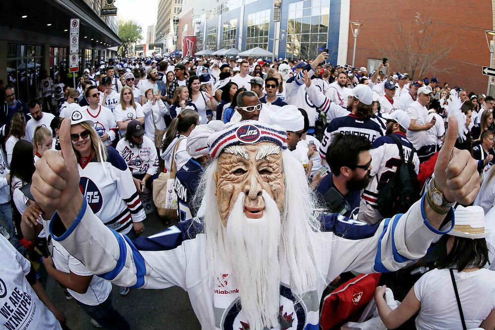 JOHN WOODS / THE CANADIAN PRESS<br>Winnipeg fans gather prior to game one NHL Western Conference Final action between the Winnipeg Jets and the Vegas Golden Knights in Winnipeg on Saturday, May 12, 2018.<br>