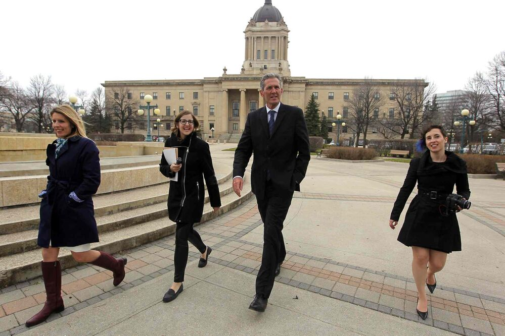 Brian Pallister holds a press conference on the south side of the Manitoba legislature the morning after the provincial election. -