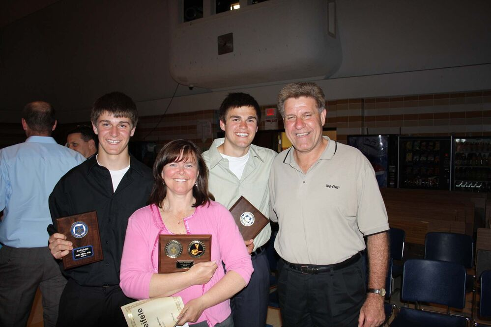 Brothers Mark and Kyle Scheifele with Mom, Mary-Lou and Dad, Brad  - Family photo