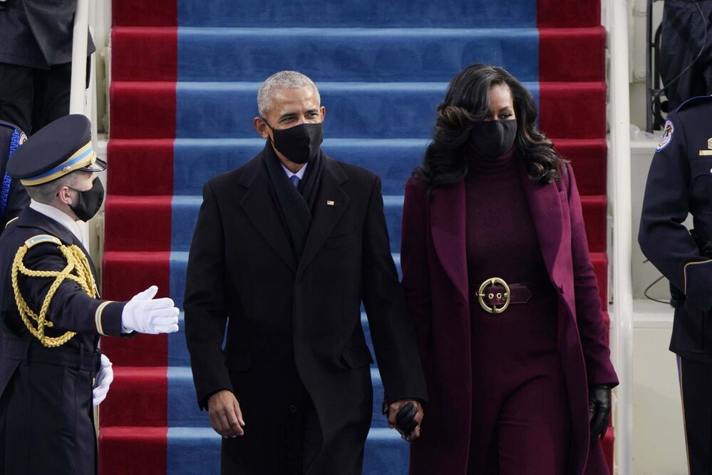 Patrick Semansky /Pool / The Associated Press<br>Former U.S. president Barack Obama and his wife Michelle arrive for the 59th Presidential Inauguration at the U.S. Capitol for president-elect Joe Biden in Washington on Wednesday.<br>