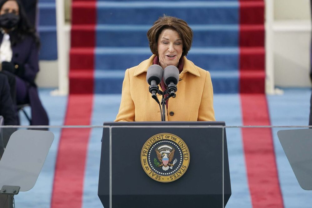 Patrick Semansky / Pool / The Associated Press<br>Sen. Amy Klobucher, D-Minn., speaks during the 59th Presidential Inauguration at the U.S. Capitol in Washington on Wednesday.<br>