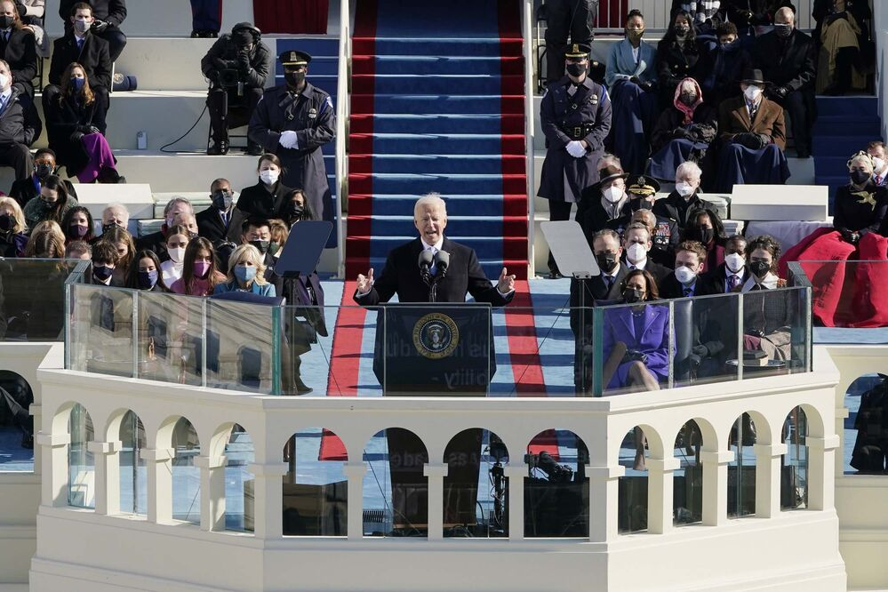 Patrick Semansky, Pool / The Associated Press<br>President Joe Biden speaks during the 59th Presidential Inauguration at the U.S. Capitol in Washington on Wednesday.<br>