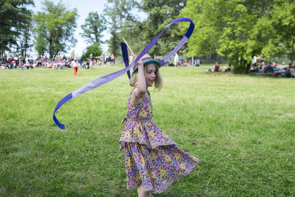 ZACHARY PRONG / WINNIPEG FREE PRESS<br><br>Rosemary, 7, dances at Folkfest on Friday.<br> -