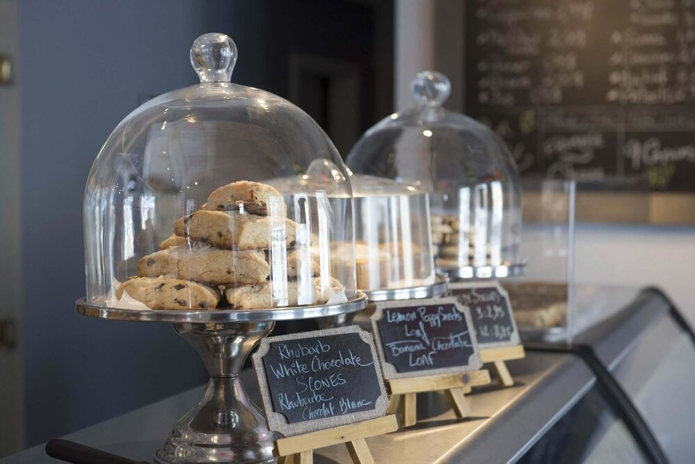 Scones and other goodies on display.<br><br> -