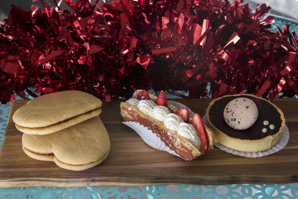 A Valentine's Day treat (left) with other pastries.<br> -
