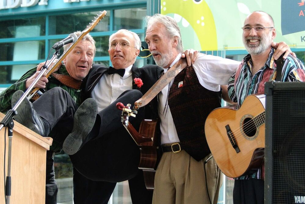 From left: Paul O'Neill, Simmons, Fred Penner and Jake Chenier during the Heroes of the Kidfest press conference at the Forks in 2012. (Mike Deal / Free Press files)