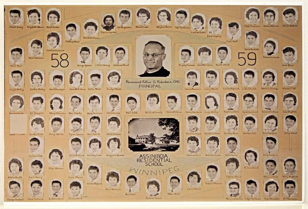 Class photo of the former Assiniboia Residential School at 611 Academy headed by Rev Father O. Robidoux, Principal.