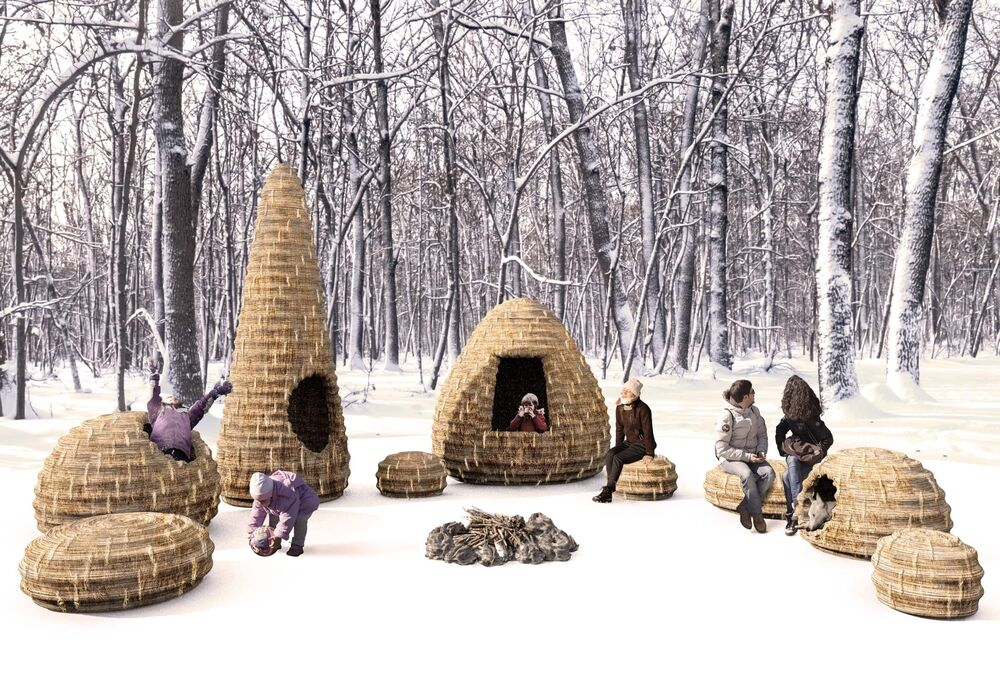 Forest Village, from Tokyo-based architects Masato Ashida and Adrian Steckeweh, is an assemblage of woven basket-like structures inspired by a Japanese storage system for daikon radish. Forest Village is one of five huts chosen this year out of 200 entries from around the world. (Supplied)