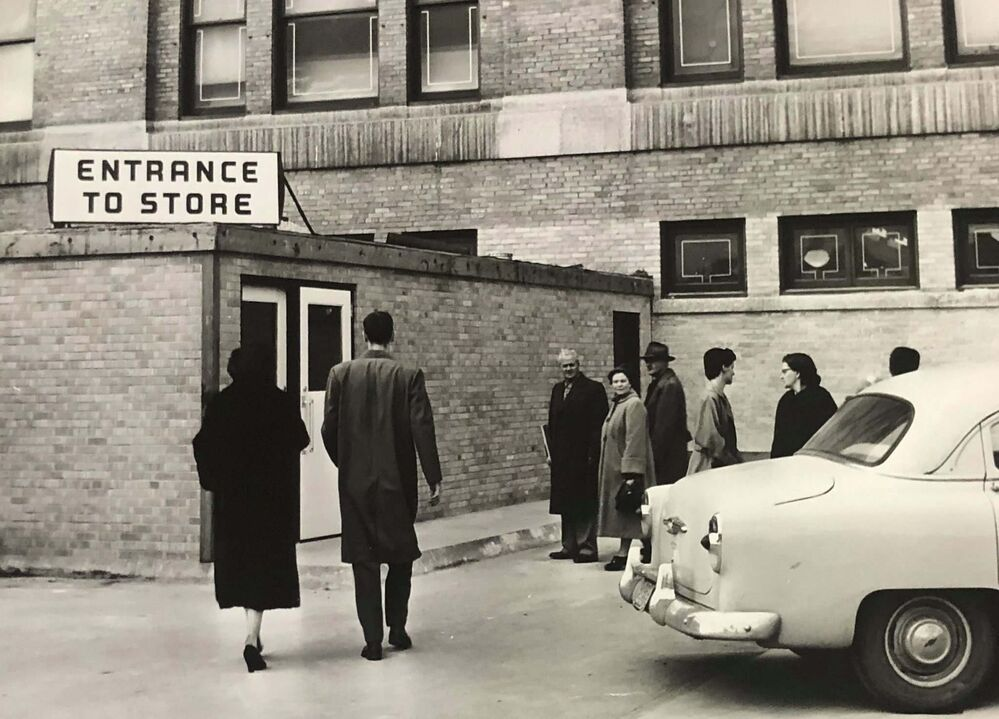 HBC ARCHIVES<br>An entrance to the store from the second tier of the parkade.<br>