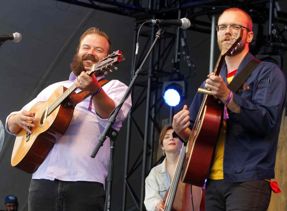 BORIS MINKEVICH / WINNIPEG FREE PRESS WINNIPEG FOLK FESTIVAL 2016 - The Crooked Brothers perform the first band of the opening night at Folk Fest Main stage in Birds Hill Park.  L-R Matt Foster and Darwin Baker.  -