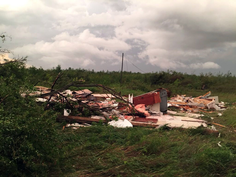 A house near Alonsa was levelled by the tornado. (Matt Desorcy photo / The Canadian Press)
