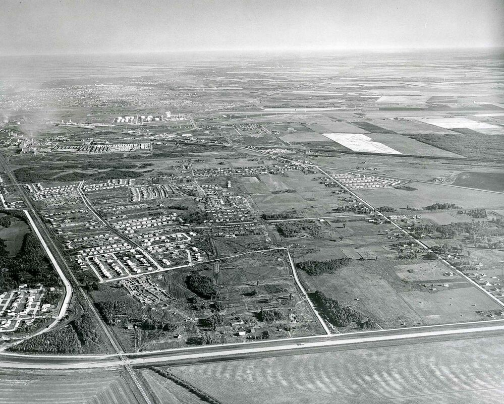 Windsor Park in 1956 with Fermor Avenue at the bottom and Archibald Street on the left. (Winnipeg Free Press files)