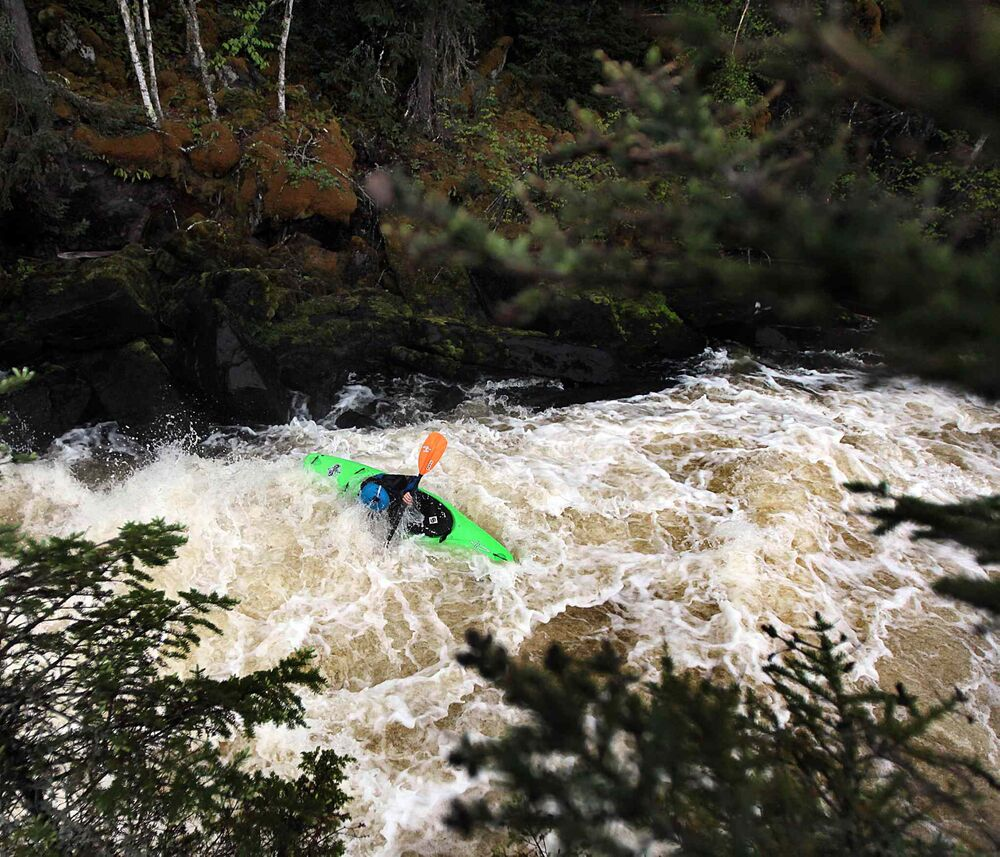 "Steven Walker makes his way through ""The Canyon"" on Bird River. May 26, 2016 -"