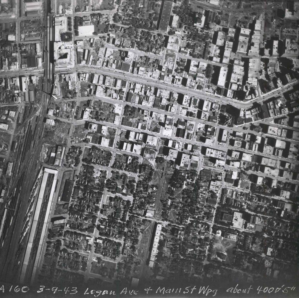 Logan and Main and the surrounding area as seen from the air in 1943. (Files)