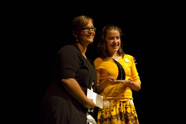 Montana Lehmann (right) performed at awards ceremony. She dreams of becoming an actress.