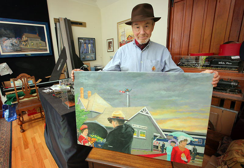 Bill Hobbs with his painting depicting Queen Elizabeth II's 1970 stopover in La Broquerie, based on a photo that is notable for its casual feel.