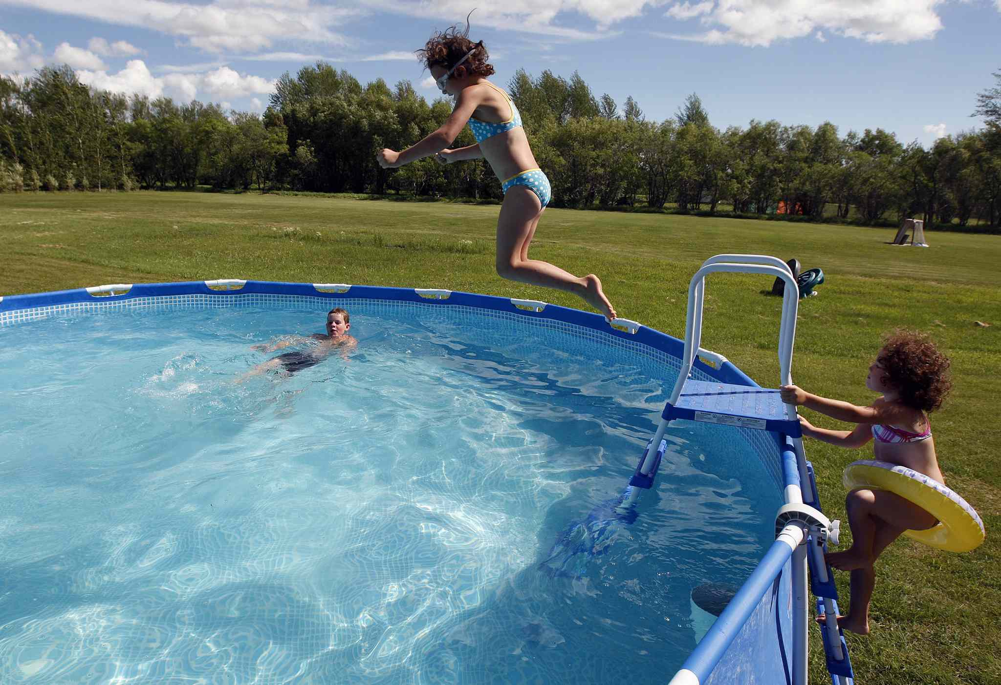 Children playing in the water make noise. If they get quiet, find out why.
