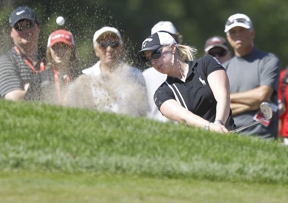 Morgan Pressel chips out of the sand on the 9th during the first round of The CN Canadian Women's Open at St. Charles Country Club.  (TREVOR HAGAN / WINNIPEG FREE PRESS)