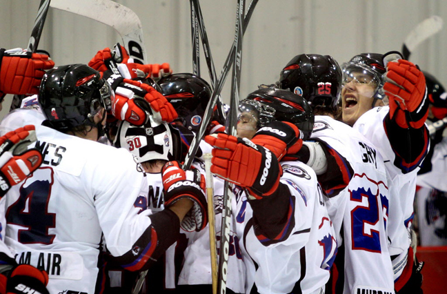 The OCN Blizzard celebrate their win against the Portage Terriers during Saturday. The OCN Blizzard won the game  2 -1 in a shootout.  (Ruth Bonneville / Winnipeg Free Press)