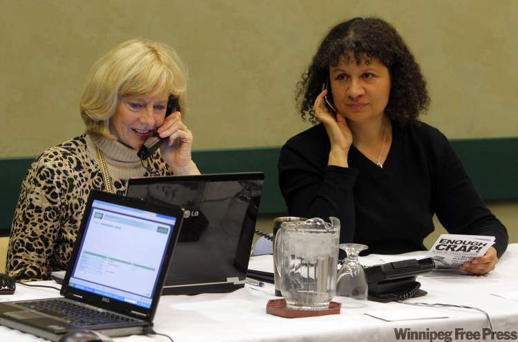 Vicky Burns (left) and Mary LeMaitre participate in the virtual town hall dealing with the city's contract with Veolia on Thursday.