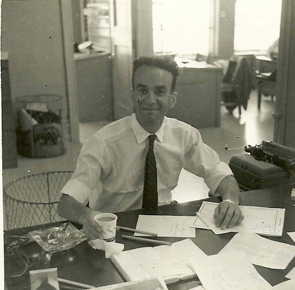 Val Werier does some newspapering in this undated photo. (SUPPLIED PHOTO)
