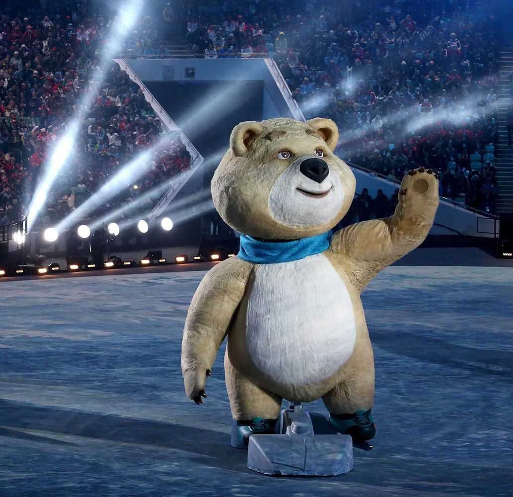 The polar bear mascot moves through Fisht Olympic Stadium in Sochi, Russia, during the Opening Ceremony for the Winter Olympics, Friday, Feb. 7, 2014. (Brian Cassella/Chicago Tribune/MCT)