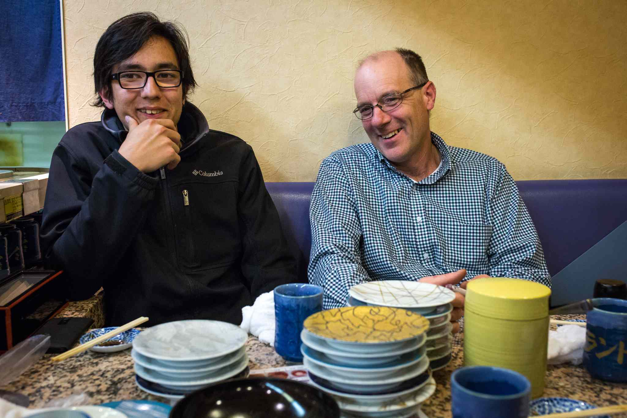 GREG GALLINGER / WINNIPEG FREE PRESS </P><p>Ray Epp and his son Kazu in a sushi restaurant in Naganuma, Japan.