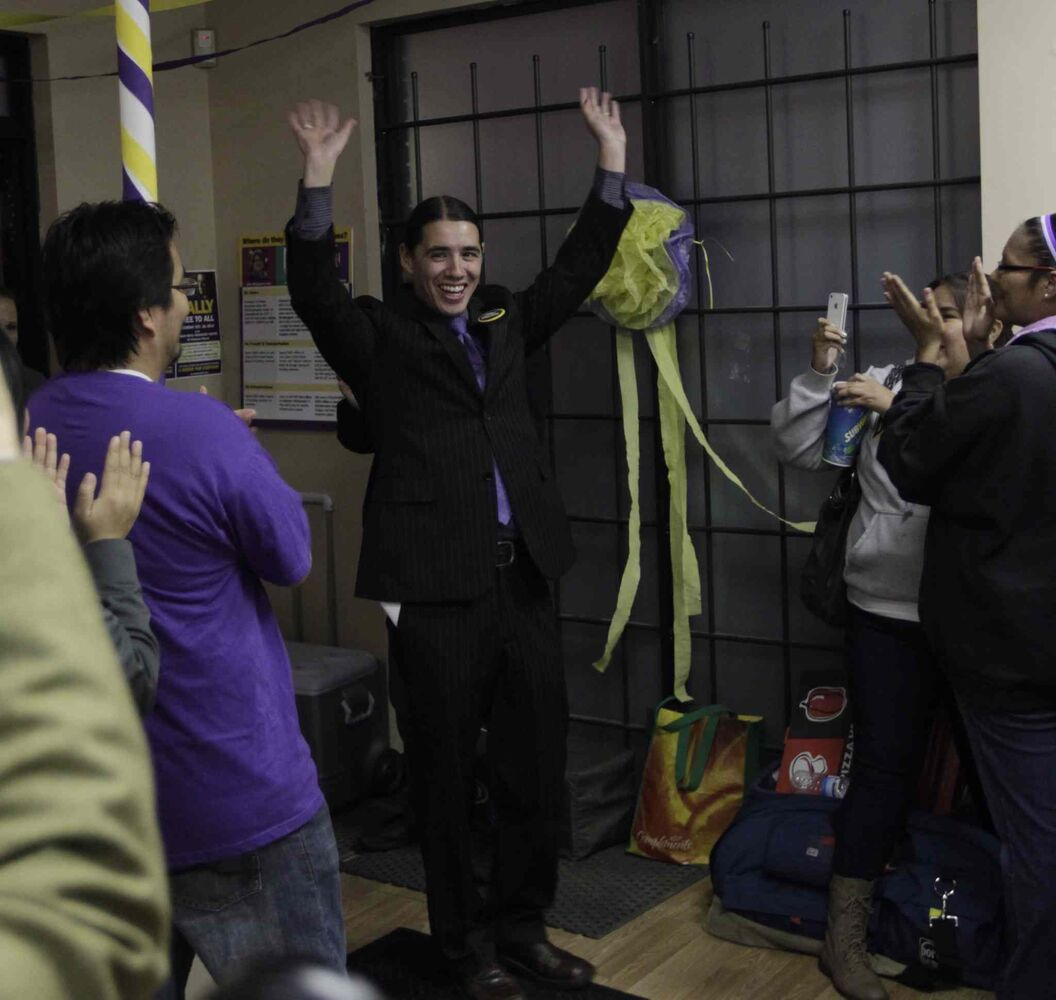 Mayoral candidate Robert-Falcon Ouellette with his supporters in his campaign headquarters on election night. (Wayne Glowacki / Winnipeg Free Press)